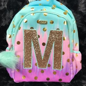 water bottle  H E K B T lunch box NEW JUSTICE Glitter stripe initial backpack